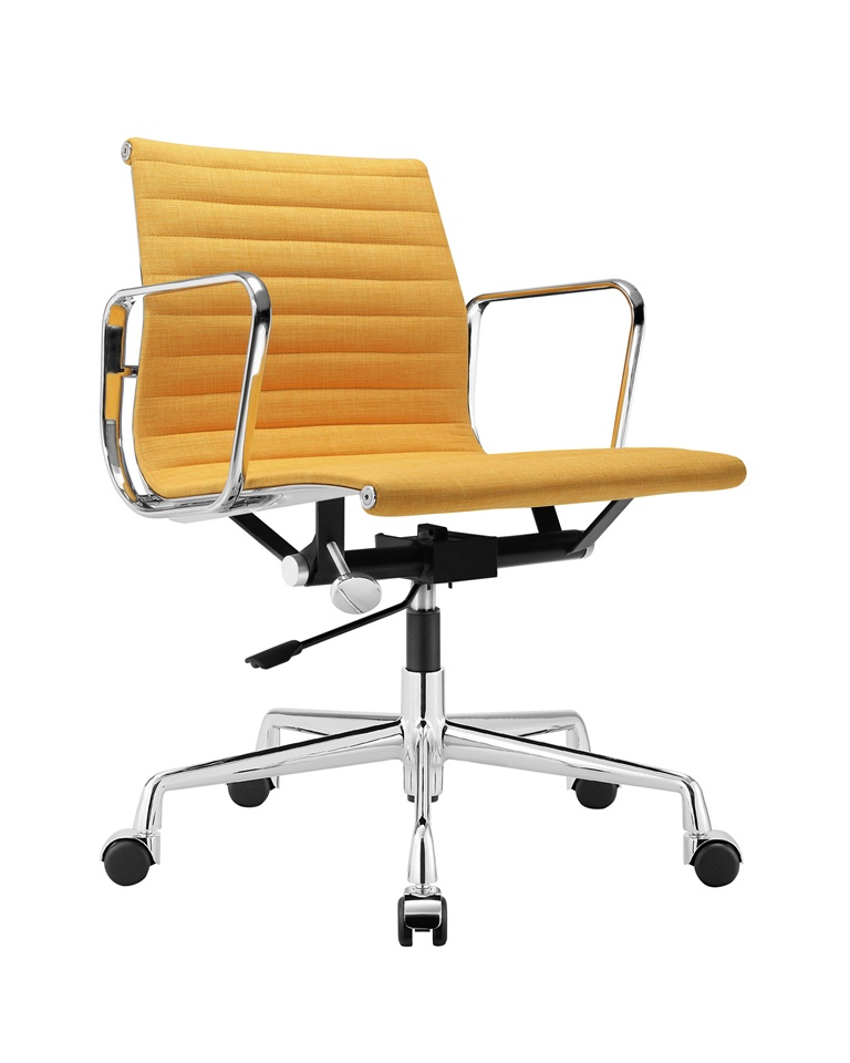 Charles Eames Aluminum Group Executive Chair Yellow Fabric DS384