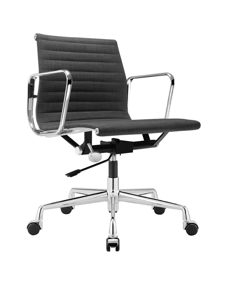 Charles Eames Aluminum Group Executive Chair Dark Grey Fabric DS384