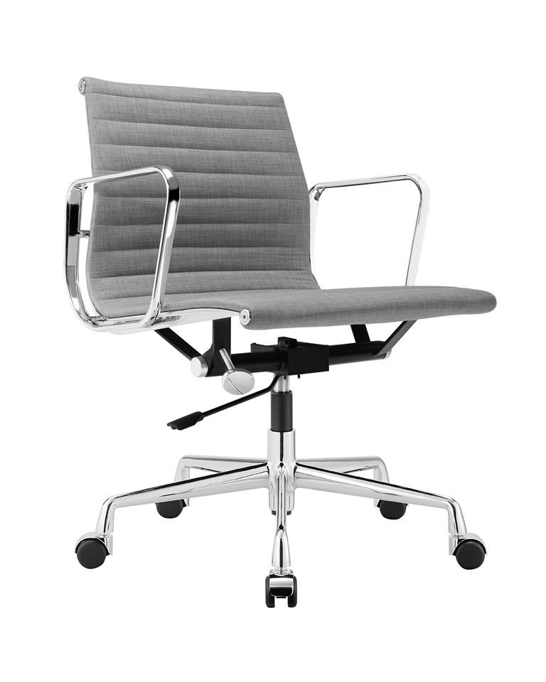 Charles Eames Aluminum Group Executive Chair Light Grey Fabric DS384