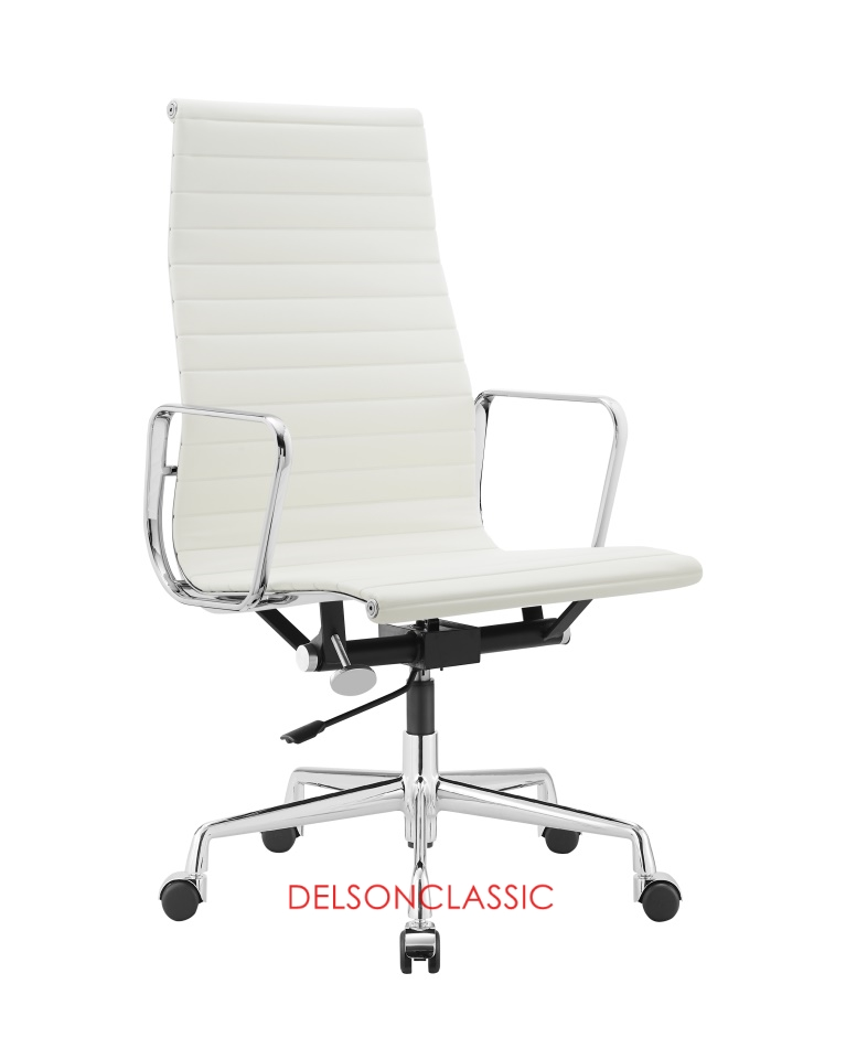 Charles Eames Aluminum Group Executive High Back Chair White Leather DS383
