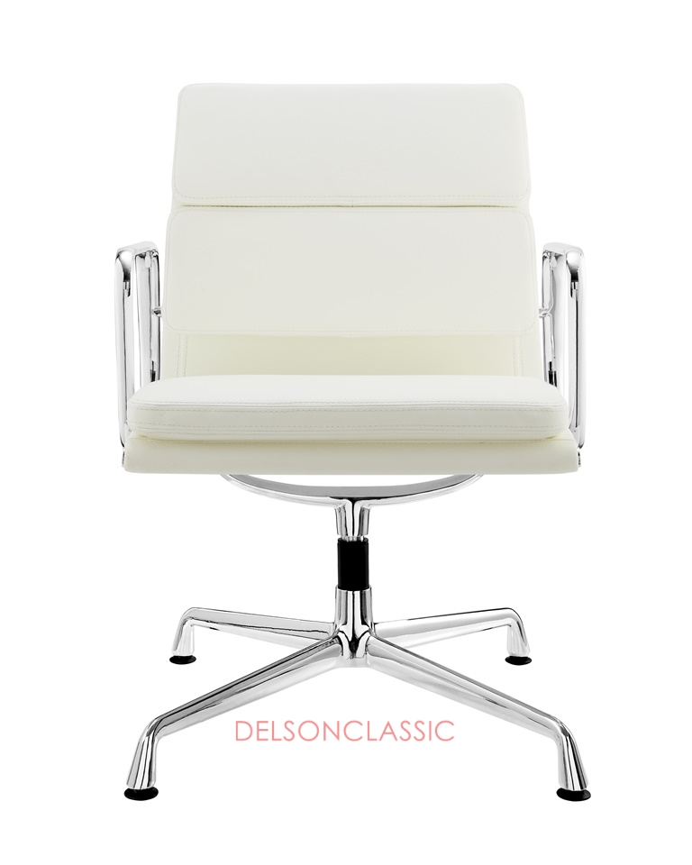 Charles Eames Low Back Soft Pad Executive Chair White Leather DS387