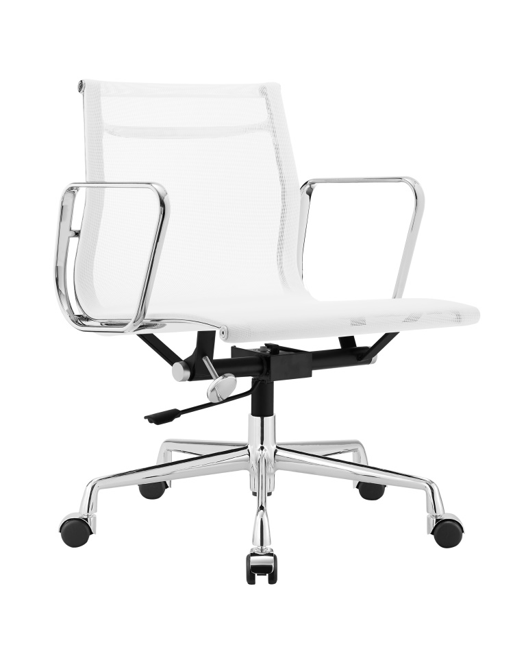 Charles Eames Aluminum Low Back Executive Office Chair White Mesh DS389
