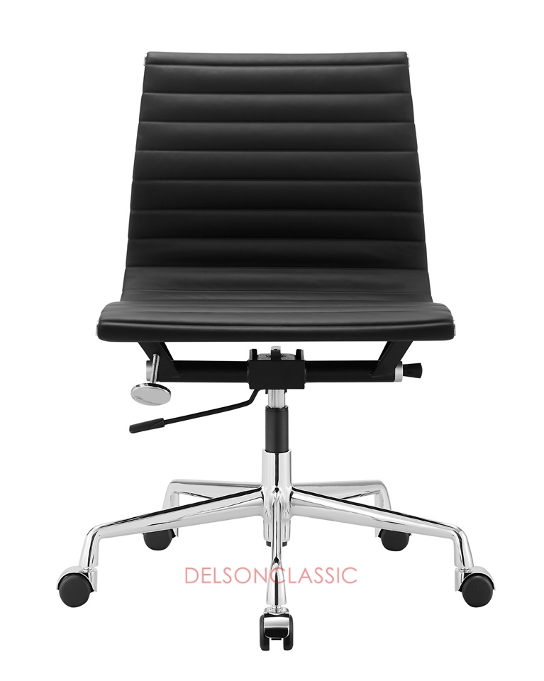 Charles Eames Aluminum Group Management Chair Black Leather DS386