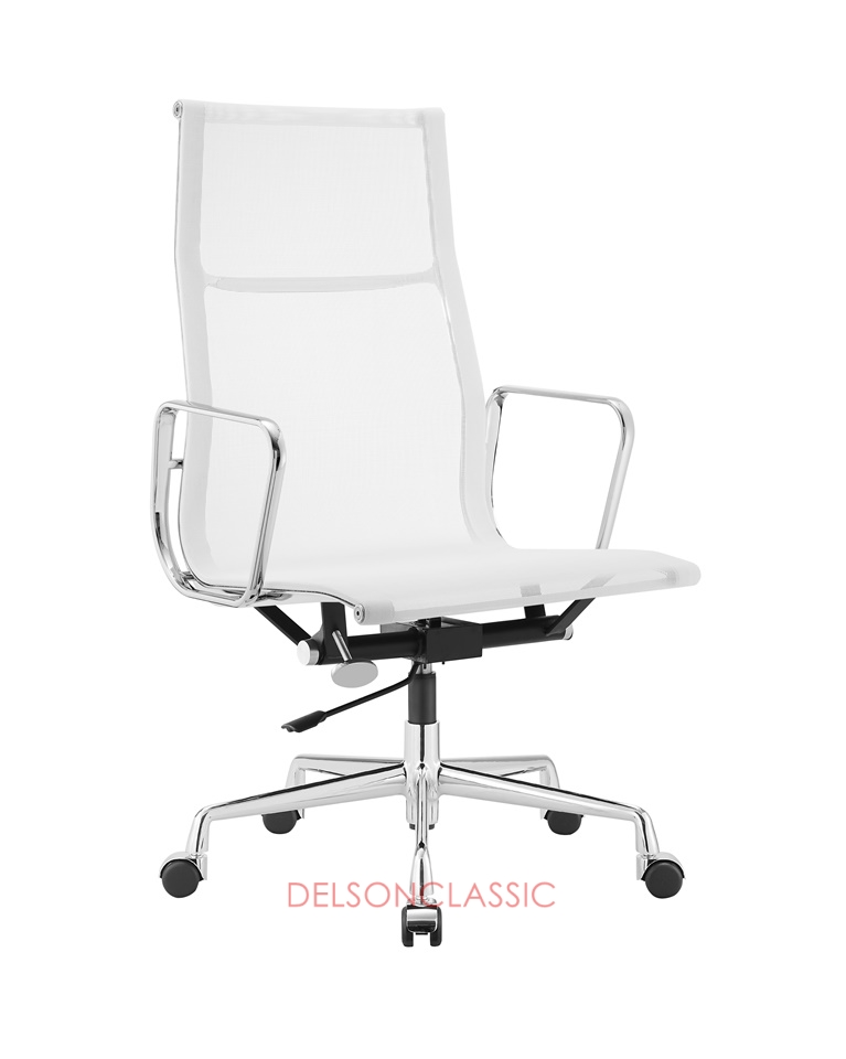 Charles Eames Aluminum High Back Executive Office Chair White Mesh DS388