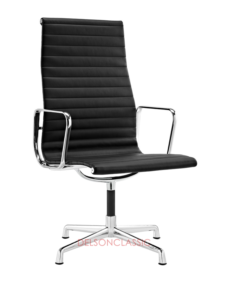 Charles Eames Aluminum Group Executive High Back Chair Black Leather DS390
