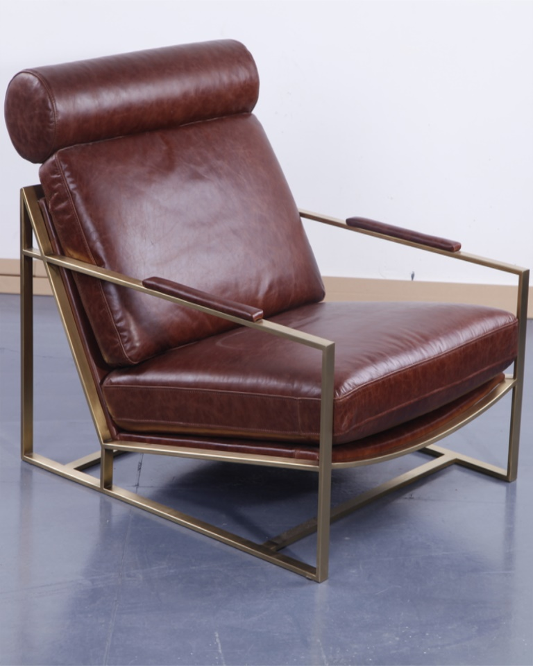 MILO BAUGHMAN  LEATHER LOUNGE CHAIR DS479